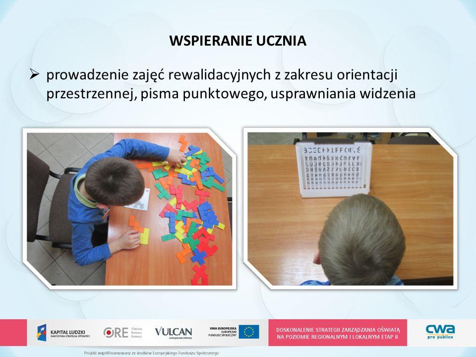WSPIERANIE UCZNIA  prowadzenie zajęć rewalidacyjnych z zakresu orientacji przestrzennej, pisma punktowego, usprawniania widzenia
