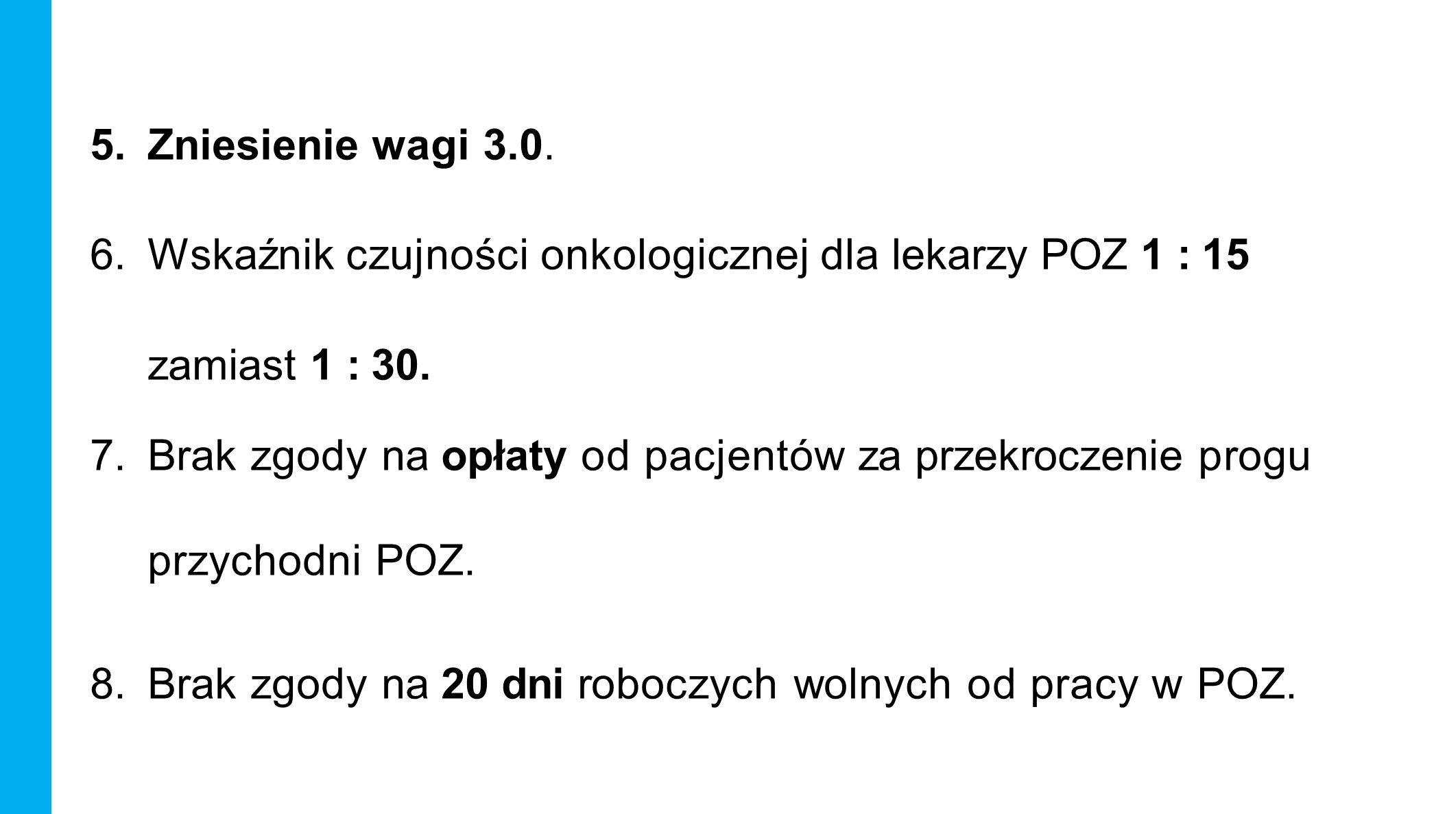 5.Zniesienie wagi 3.0. 6.Wskaźnik czujności onkologicznej dla lekarzy POZ 1 : 15 zamiast 1 : 30.