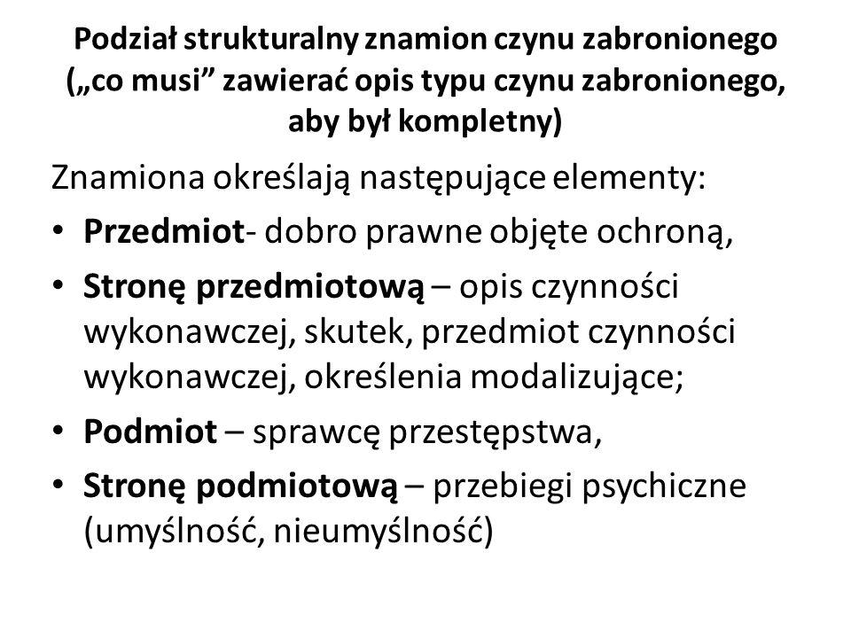 """Podział strukturalny znamion czynu zabronionego (""""co musi"""" zawierać opis typu czynu zabronionego, aby był kompletny) Znamiona określają następujące el"""