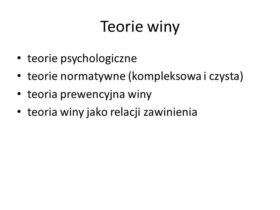 Teorie winy teorie psychologiczne teorie normatywne (kompleksowa i czysta) teoria prewencyjna winy teoria winy jako relacji zawinienia