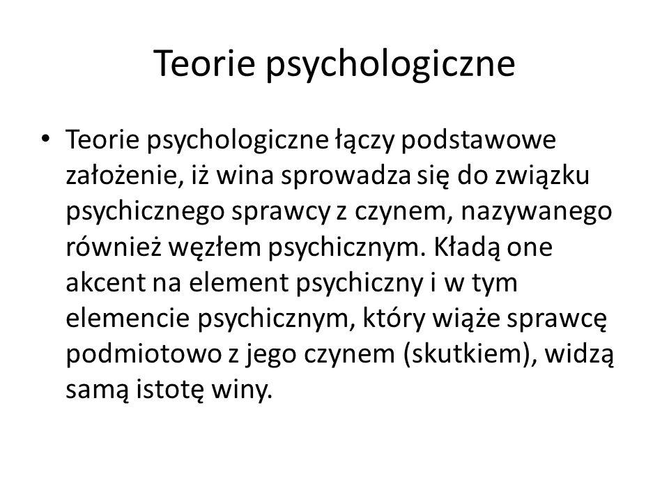 Teorie psychologiczne Teorie psychologiczne łączy podstawowe założenie, iż wina sprowadza się do związku psychicznego sprawcy z czynem, nazywanego rów