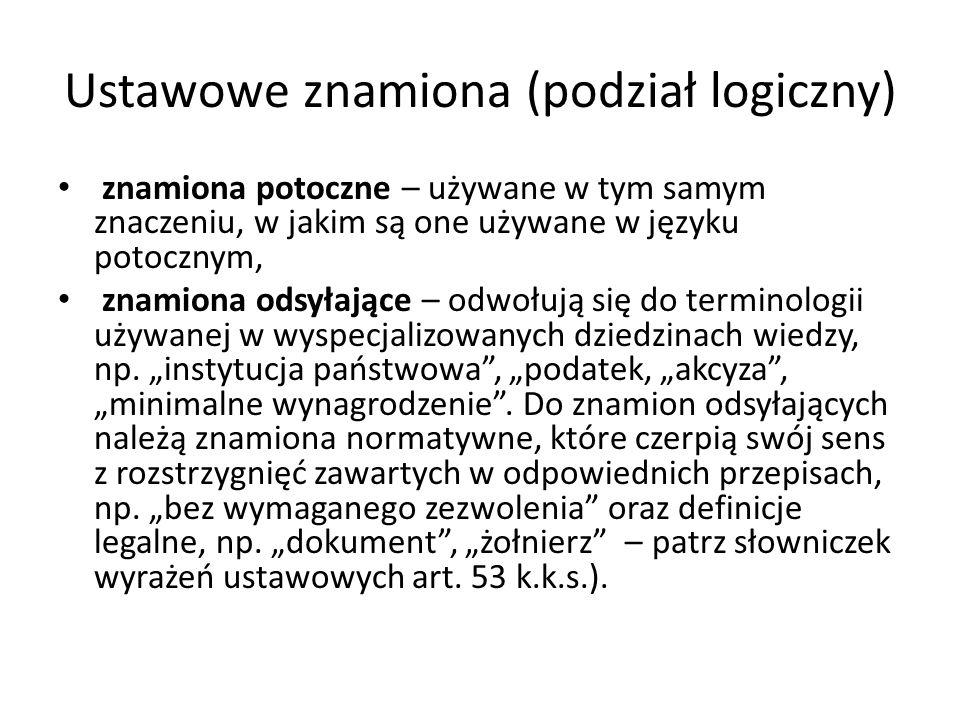 Ustawowe znamiona (podział logiczny) znamiona potoczne – używane w tym samym znaczeniu, w jakim są one używane w języku potocznym, znamiona odsyłające