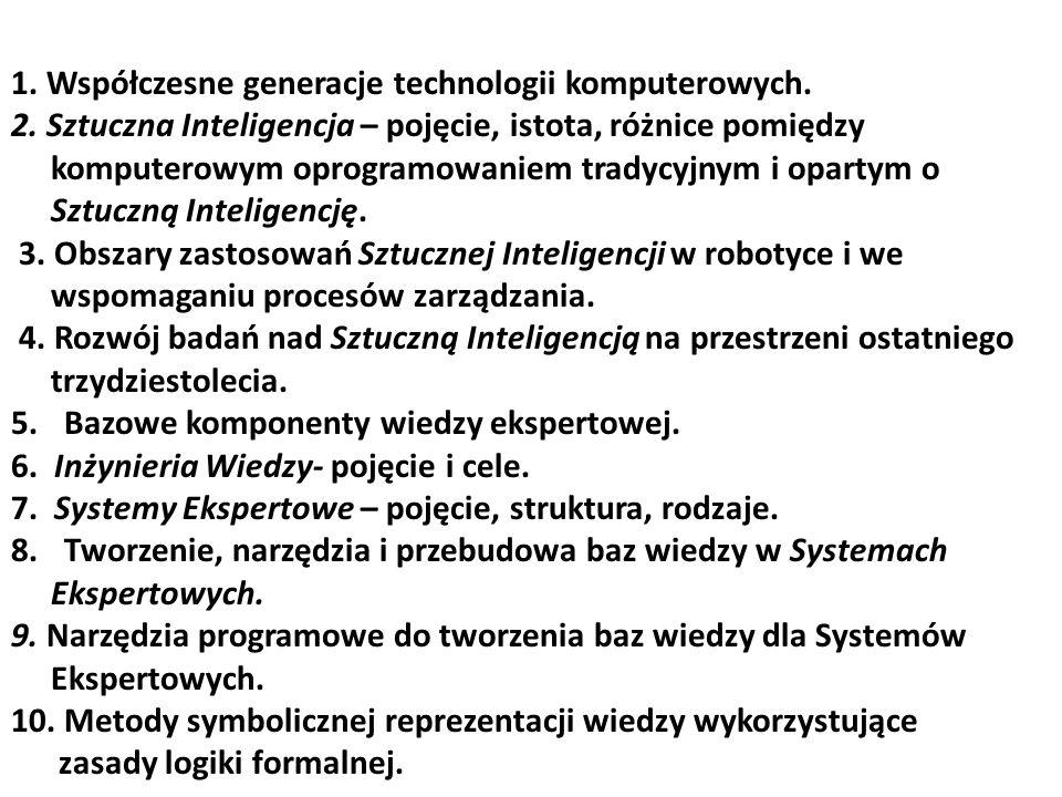 1. Współczesne generacje technologii komputerowych. 2. Sztuczna Inteligencja – pojęcie, istota, różnice pomiędzy komputerowym oprogramowaniem tradycyj