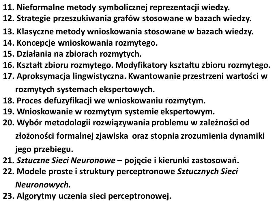 11. Nieformalne metody symbolicznej reprezentacji wiedzy. 12. Strategie przeszukiwania grafów stosowane w bazach wiedzy. 13. Klasyczne metody wnioskow