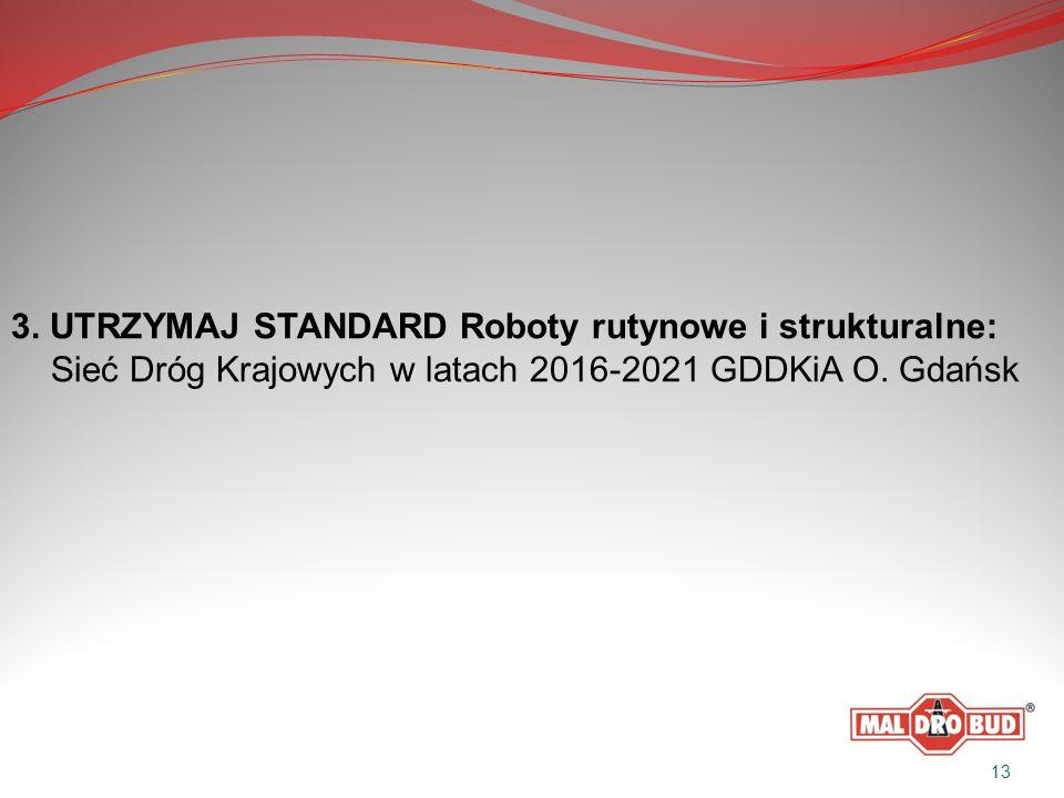 3. UTRZYMAJ STANDARD Roboty rutynowe i strukturalne: Sieć Dróg Krajowych w latach 2016-2021 GDDKiA O. Gdańsk 13