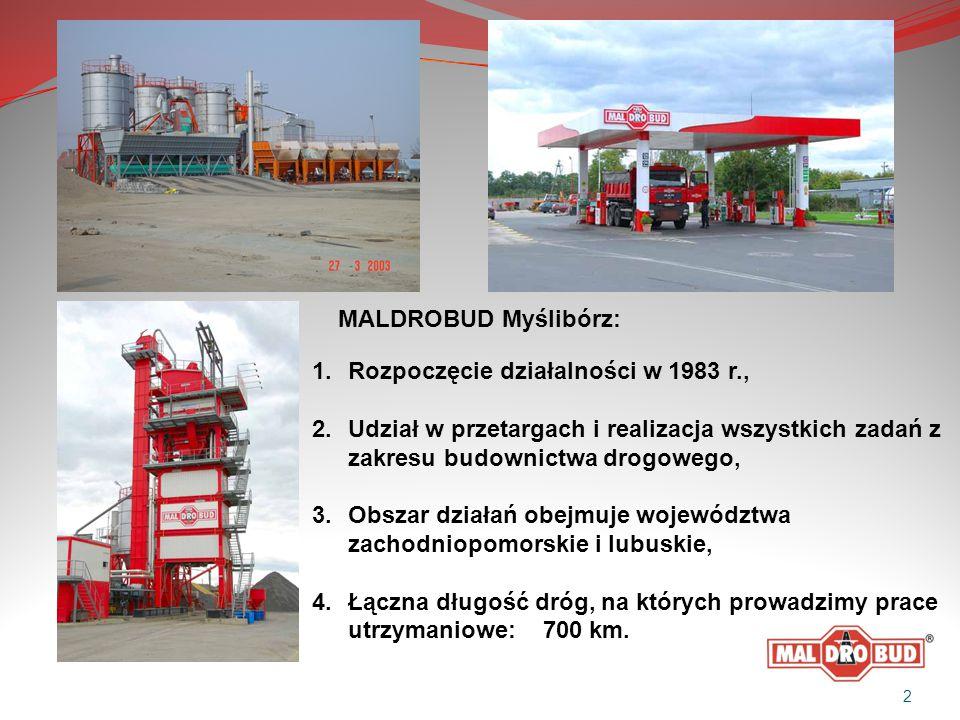 1.Rozpoczęcie działalności w 1983 r., 2.Udział w przetargach i realizacja wszystkich zadań z zakresu budownictwa drogowego, 3.Obszar działań obejmuje województwa zachodniopomorskie i lubuskie, 4.Łączna długość dróg, na których prowadzimy prace utrzymaniowe: 700 km.
