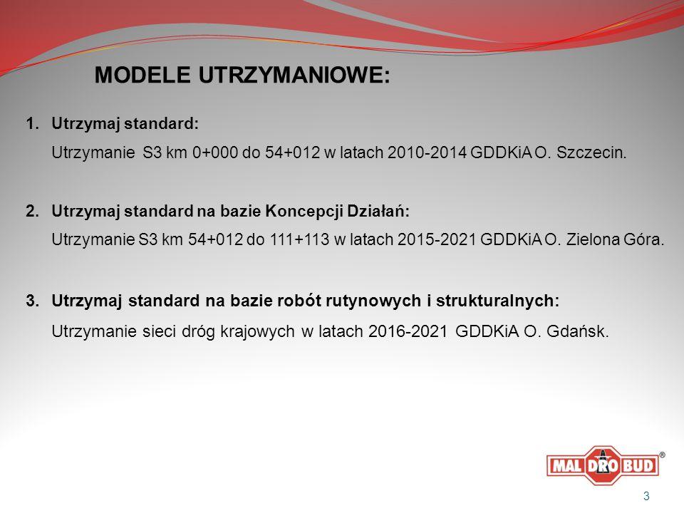 MODELE UTRZYMANIOWE: 1.Utrzymaj standard: Utrzymanie S3 km 0+000 do 54+012 w latach 2010-2014 GDDKiA O. Szczecin. 2.Utrzymaj standard na bazie Koncepc