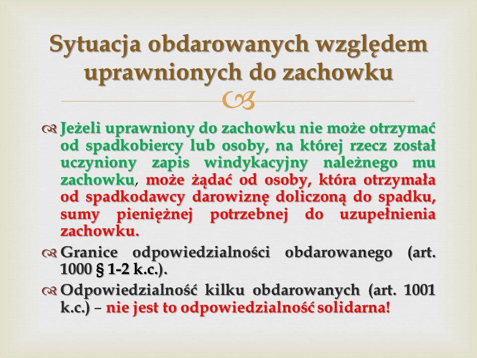   Jeżeli uprawniony do zachowku nie może otrzymać od spadkobiercy lub osoby, na której rzecz został uczyniony zapis windykacyjny należnego mu zachow
