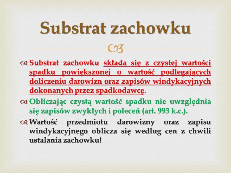   Substrat zachowku składa się z czystej wartości spadku powiększonej o wartość podlegających doliczeniu darowizn oraz zapisów windykacyjnych dokona