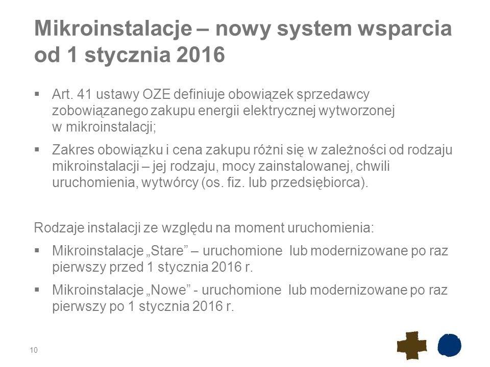 Mikroinstalacje – nowy system wsparcia od 1 stycznia 2016  Art. 41 ustawy OZE definiuje obowiązek sprzedawcy zobowiązanego zakupu energii elektryczne