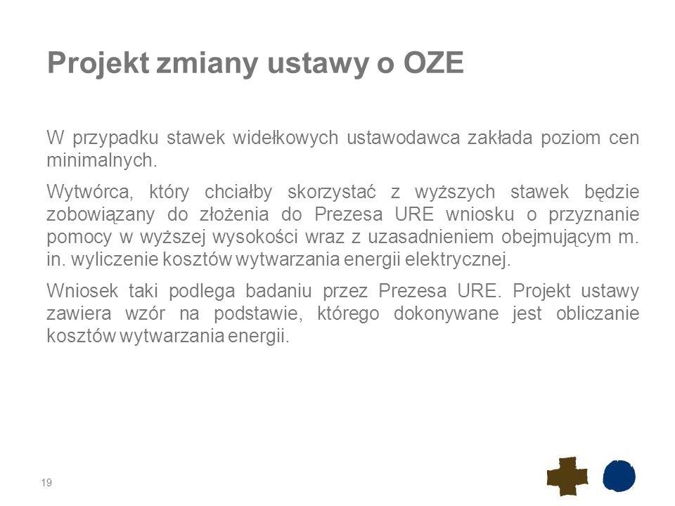 Projekt zmiany ustawy o OZE W przypadku stawek widełkowych ustawodawca zakłada poziom cen minimalnych. Wytwórca, który chciałby skorzystać z wyższych