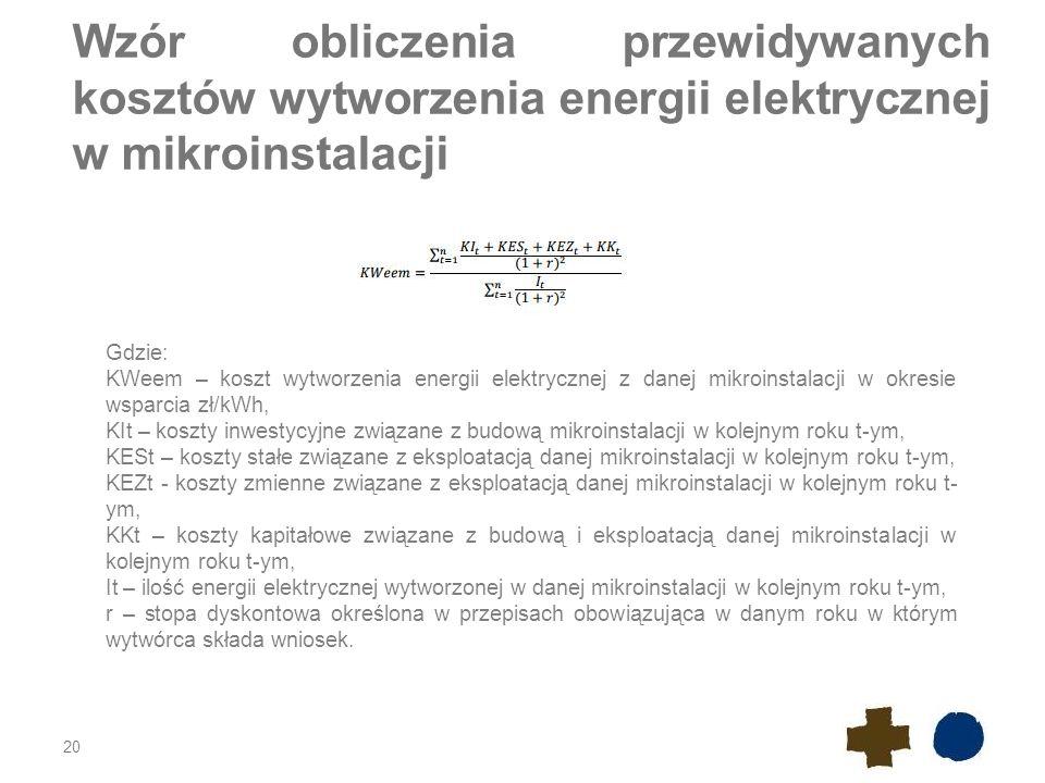 Wzór obliczenia przewidywanych kosztów wytworzenia energii elektrycznej w mikroinstalacji 20 Gdzie: KWeem – koszt wytworzenia energii elektrycznej z d