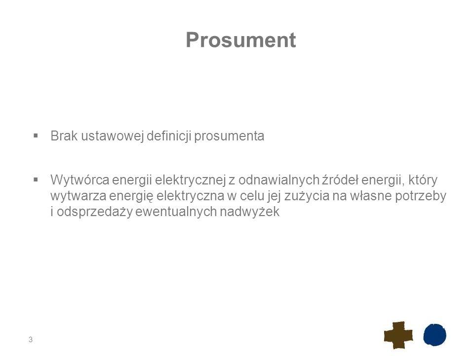 Prosument  Brak ustawowej definicji prosumenta  Wytwórca energii elektrycznej z odnawialnych źródeł energii, który wytwarza energię elektryczna w ce