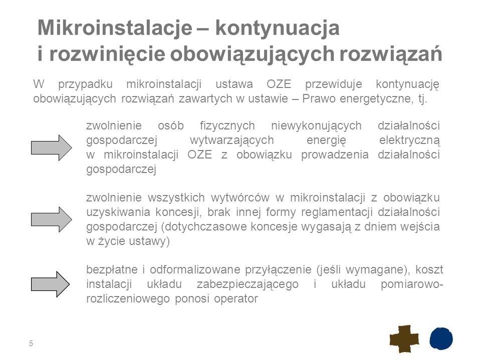 Mikroinstalacje – kontynuacja i rozwinięcie obowiązujących rozwiązań 5 W przypadku mikroinstalacji ustawa OZE przewiduje kontynuację obowiązujących ro