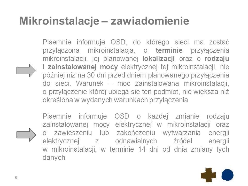 Mikroinstalacje – zawiadomienie 6 Pisemnie informuje OSD, do którego sieci ma zostać przyłączona mikroinstalacja, o terminie przyłączenia mikroinstala
