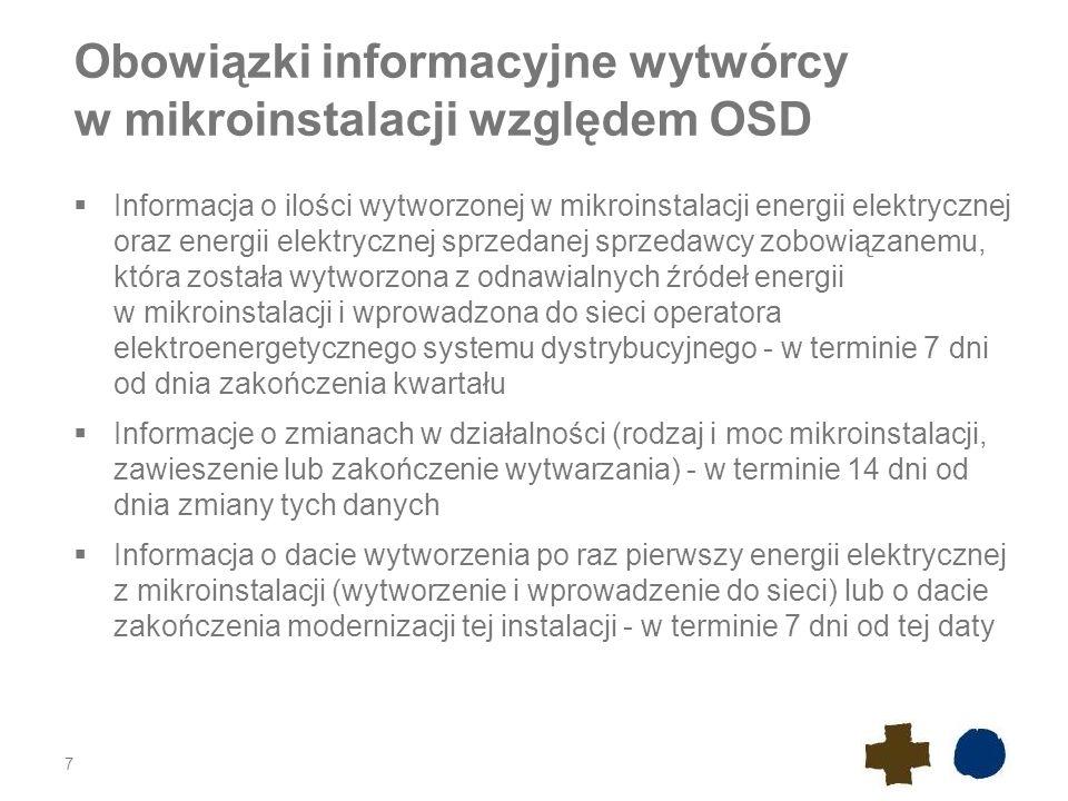 Obowiązki informacyjne wytwórcy w mikroinstalacji względem OSD  Informacja o ilości wytworzonej w mikroinstalacji energii elektrycznej oraz energii e