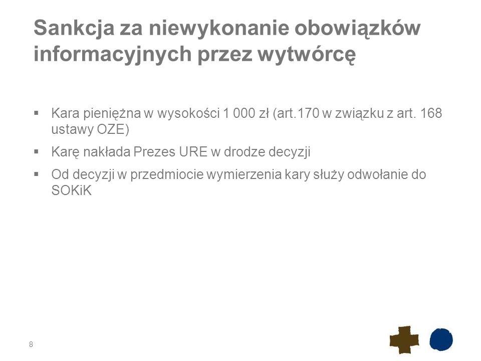 Sankcja za niewykonanie obowiązków informacyjnych przez wytwórcę  Kara pieniężna w wysokości 1 000 zł (art.170 w związku z art. 168 ustawy OZE)  Kar