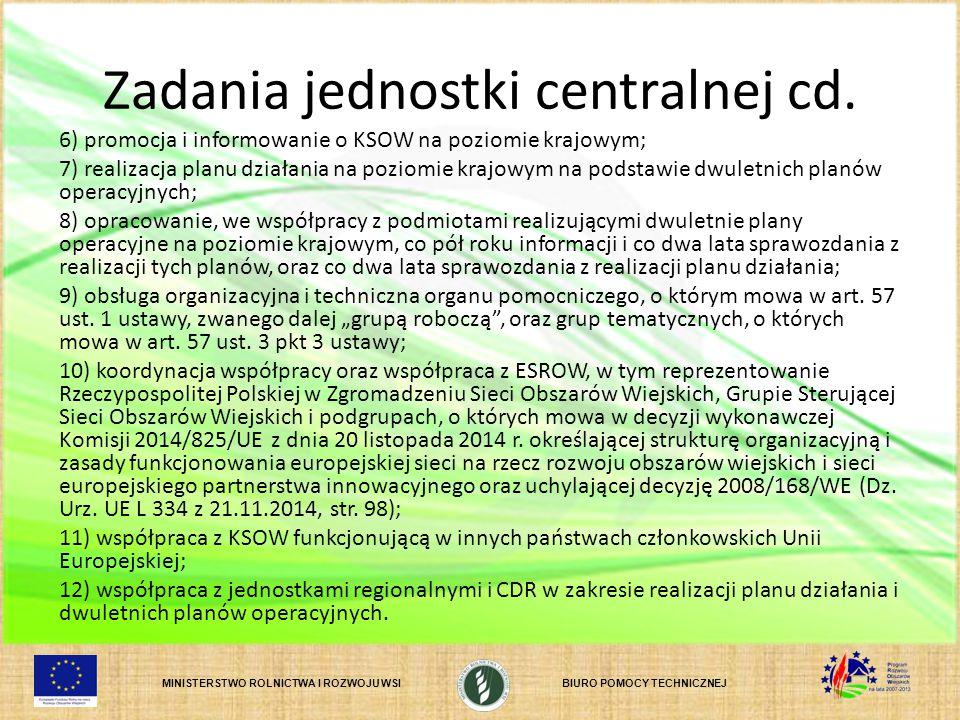 MINISTERSTWO ROLNICTWA I ROZWOJU WSIBIURO POMOCY TECHNICZNEJ Zadania jednostki centralnej cd. 6) promocja i informowanie o KSOW na poziomie krajowym;