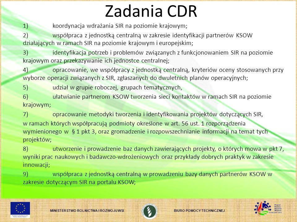MINISTERSTWO ROLNICTWA I ROZWOJU WSIBIURO POMOCY TECHNICZNEJ Zadania CDR 1)koordynacja wdrażania SIR na poziomie krajowym; 2)współpraca z jednostką ce