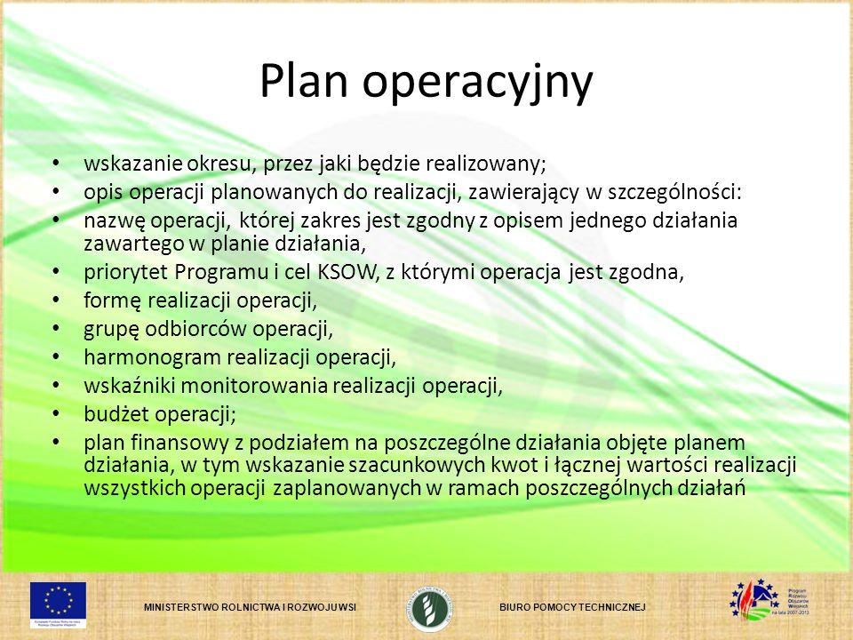 MINISTERSTWO ROLNICTWA I ROZWOJU WSIBIURO POMOCY TECHNICZNEJ Plan operacyjny wskazanie okresu, przez jaki będzie realizowany; opis operacji planowanyc