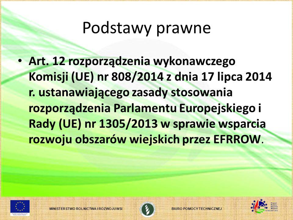 MINISTERSTWO ROLNICTWA I ROZWOJU WSIBIURO POMOCY TECHNICZNEJ Podstawy prawne Art. 12 rozporządzenia wykonawczego Komisji (UE) nr 808/2014 z dnia 17 li