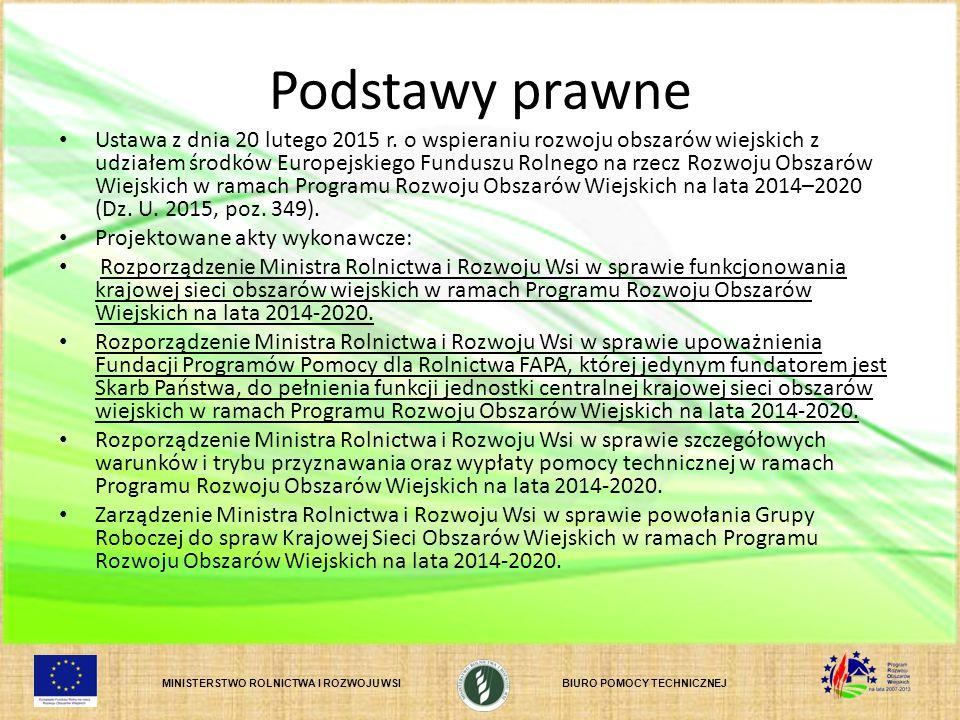 MINISTERSTWO ROLNICTWA I ROZWOJU WSIBIURO POMOCY TECHNICZNEJ Podstawy prawne Ustawa z dnia 20 lutego 2015 r. o wspieraniu rozwoju obszarów wiejskich z