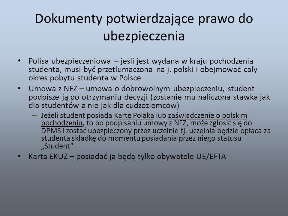 Dokumenty potwierdzające prawo do ubezpieczenia Polisa ubezpieczeniowa – jeśli jest wydana w kraju pochodzenia studenta, musi być przetłumaczona na j.