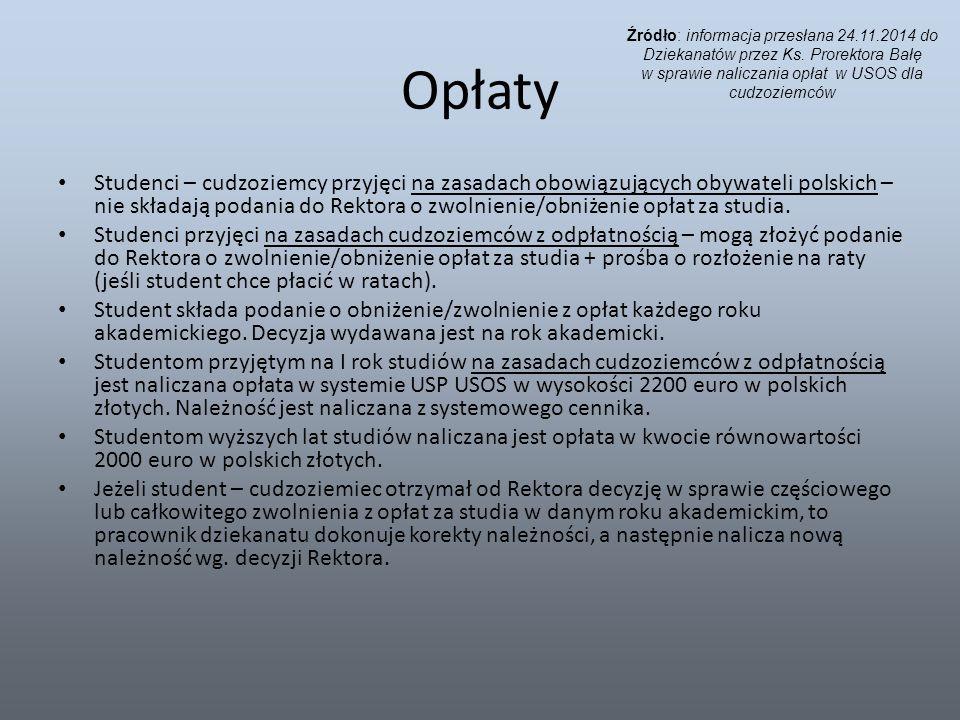 Opłaty Studenci – cudzoziemcy przyjęci na zasadach obowiązujących obywateli polskich – nie składają podania do Rektora o zwolnienie/obniżenie opłat za