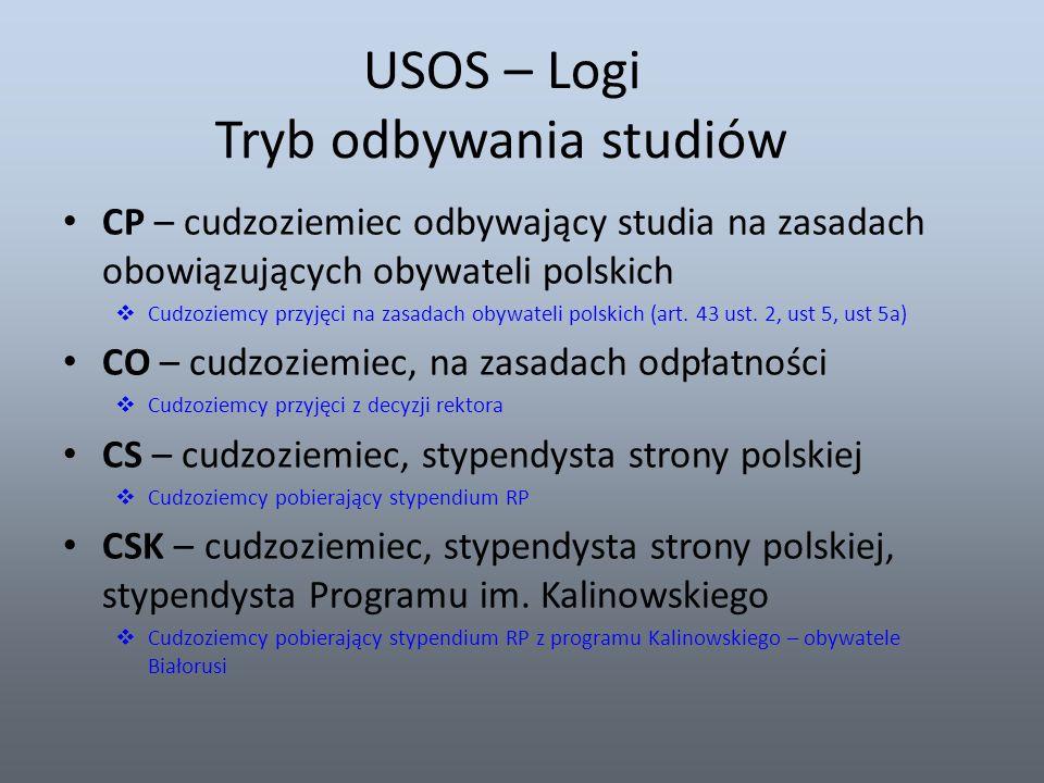 USOS – Logi Tryb odbywania studiów CP – cudzoziemiec odbywający studia na zasadach obowiązujących obywateli polskich  Cudzoziemcy przyjęci na zasadac