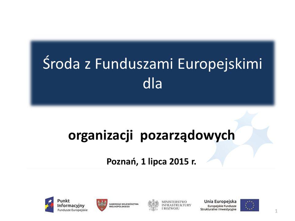 Środa z Funduszami Europejskimi dla 1 organizacji pozarządowych Poznań, 1 lipca 2015 r.