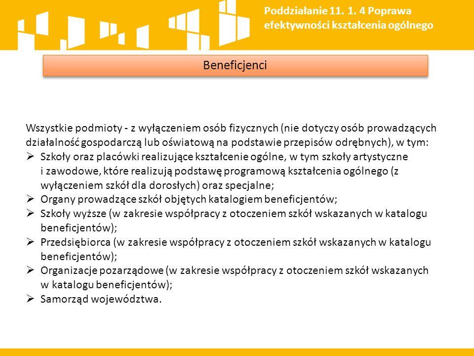 Beneficjenci Wszystkie podmioty - z wyłączeniem osób fizycznych (nie dotyczy osób prowadzących działalność gospodarczą lub oświatową na podstawie prze