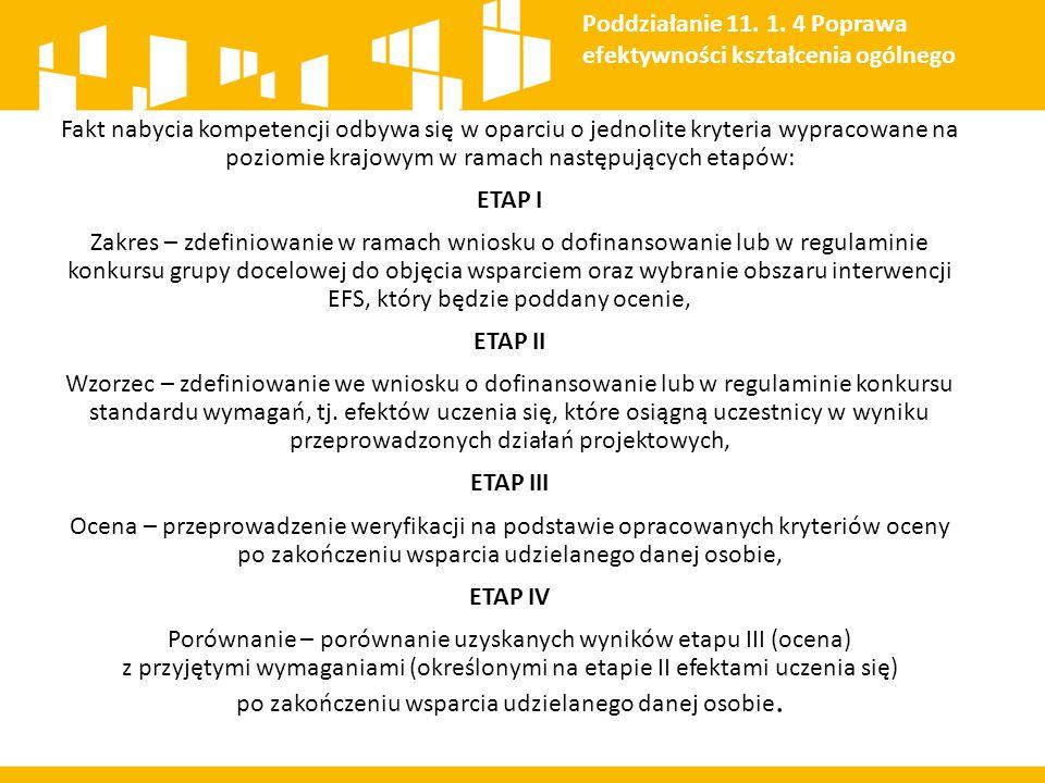 Fakt nabycia kompetencji odbywa się w oparciu o jednolite kryteria wypracowane na poziomie krajowym w ramach następujących etapów: ETAP I Zakres – zde