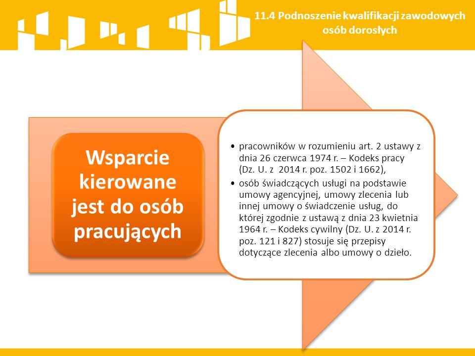Wsparcie kierowane jest do osób pracujących pracowników w rozumieniu art. 2 ustawy z dnia 26 czerwca 1974 r. – Kodeks pracy (Dz. U. z 2014 r. poz. 150