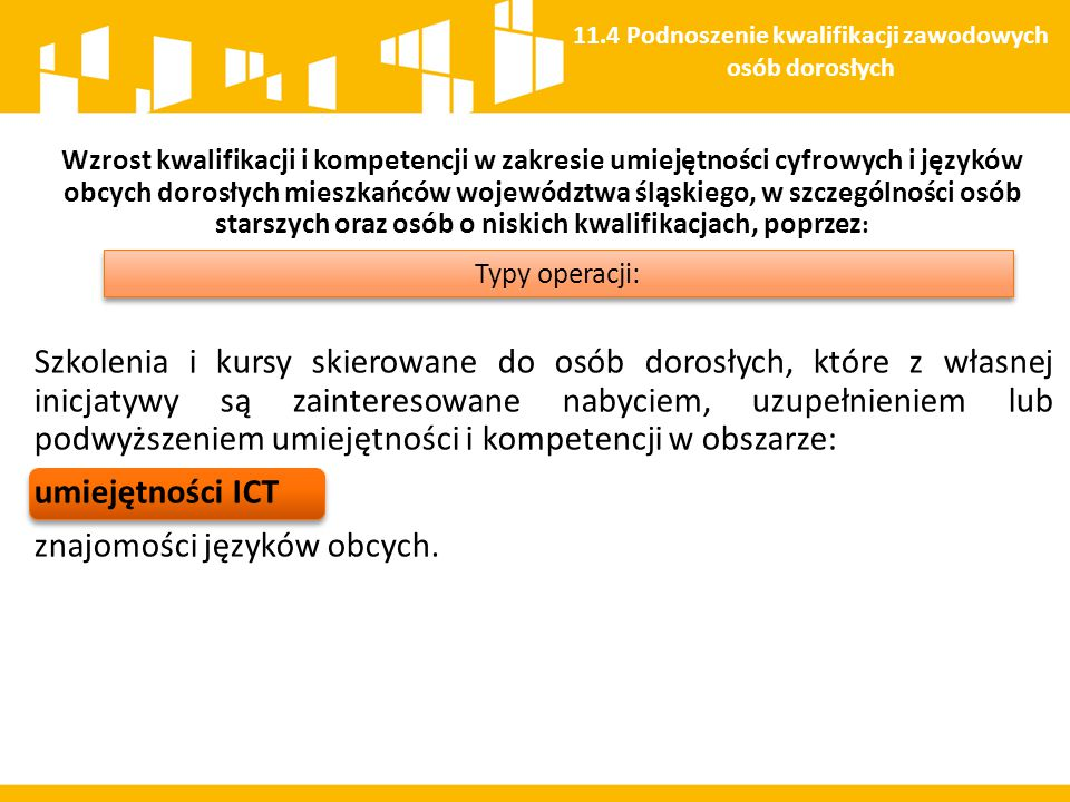 Wzrost kwalifikacji i kompetencji w zakresie umiejętności cyfrowych i języków obcych dorosłych mieszkańców województwa śląskiego, w szczególności osób
