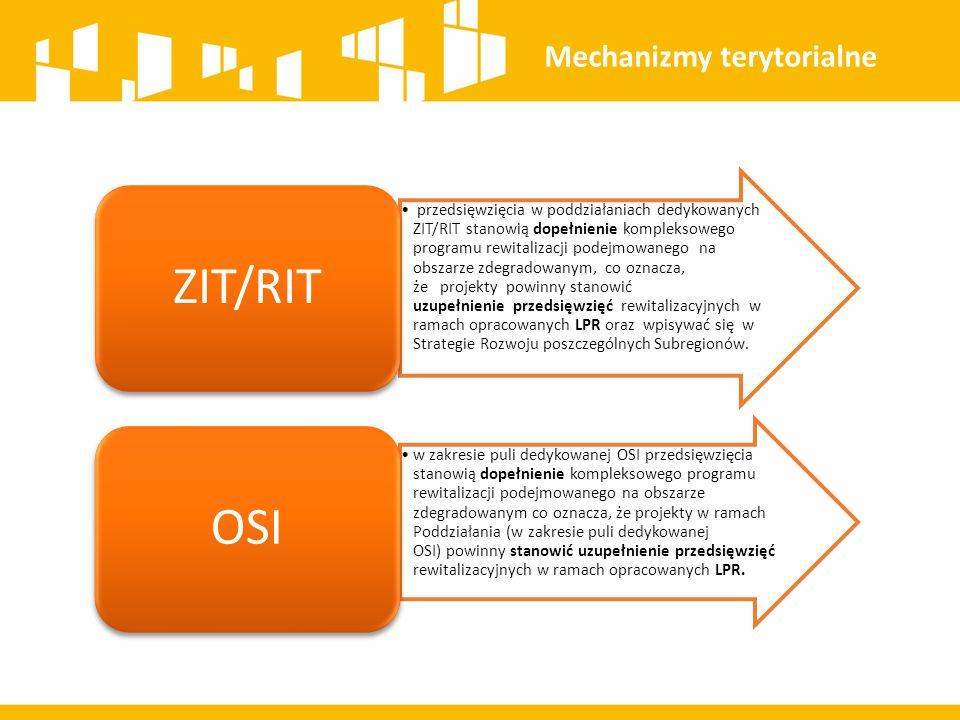 przedsięwzięcia w poddziałaniach dedykowanych ZIT/RIT stanowią dopełnienie kompleksowego programu rewitalizacji podejmowanego na obszarze zdegradowany