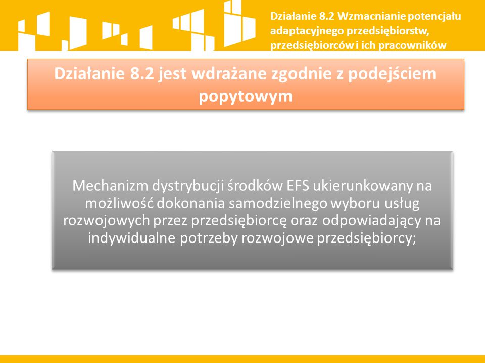 Mechanizm dystrybucji środków EFS ukierunkowany na możliwość dokonania samodzielnego wyboru usług rozwojowych przez przedsiębiorcę oraz odpowiadający