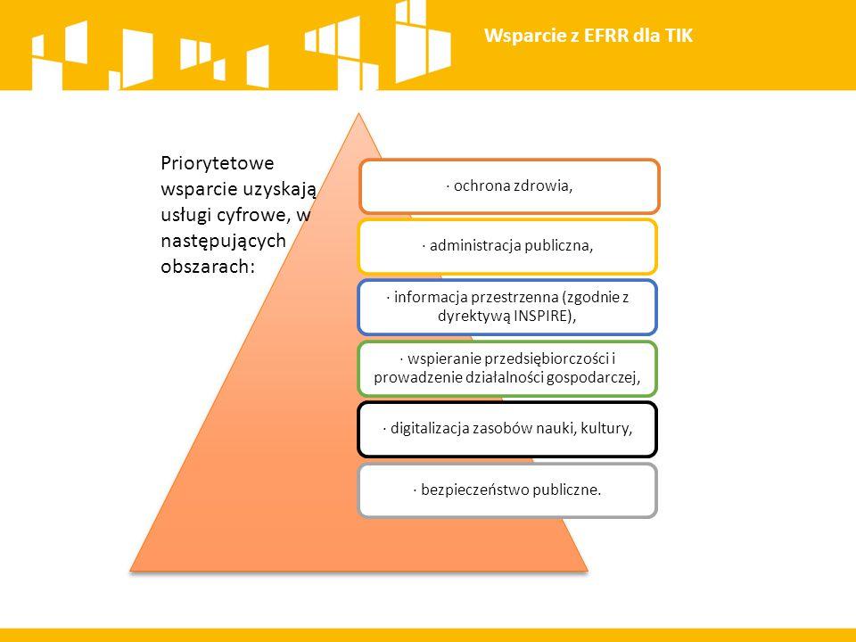 · ochrona zdrowia,· administracja publiczna, · informacja przestrzenna (zgodnie z dyrektywą INSPIRE), · wspieranie przedsiębiorczości i prowadzenie dz