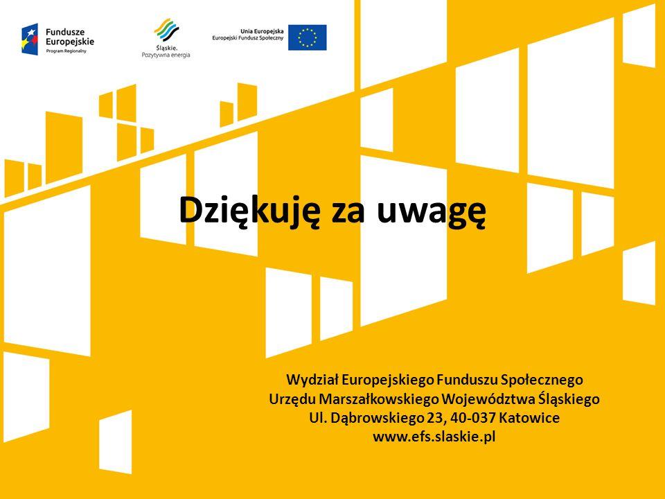 Dziękuję za uwagę Wydział Europejskiego Funduszu Społecznego Urzędu Marszałkowskiego Województwa Śląskiego Ul. Dąbrowskiego 23, 40-037 Katowice www.ef