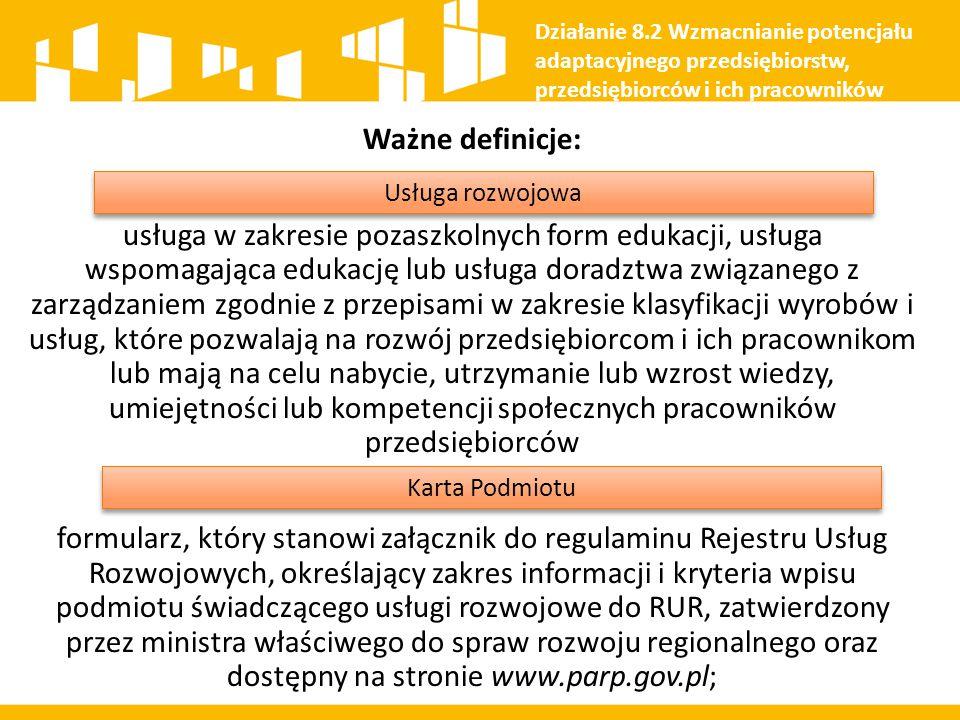 Przedsiębiorca Potrzeba rozwoju kompetencji cyfrowych pracowników Rejestr Usług Rozwojowych Działanie 8.2 Wzmacnianie potencjału adaptacyjnego przedsiębiorstw, przedsiębiorców i ich pracowników Firma szkoleniowa wpisana do RUR Usługa