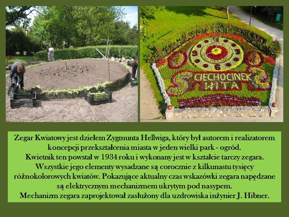 Zegar Kwiatowy jest dzie ł em Zygmunta Hellwiga, który by ł autorem i realizatorem koncepcji przekszta ł cenia miasta w jeden wielki park - ogród.
