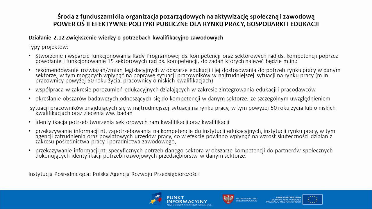 Środa z funduszami dla organizacja pozarządowych na aktywizację społeczną i zawodową POWER OŚ II EFEKTYWNE POLITYKI PUBLICZNE DLA RYNKU PRACY, GOSPODARKI I EDUKACJI Działanie 2.12 Zwiększenie wiedzy o potrzebach kwalifikacyjno-zawodowych Typy projektów: Stworzenie i wsparcie funkcjonowania Rady Programowej ds.
