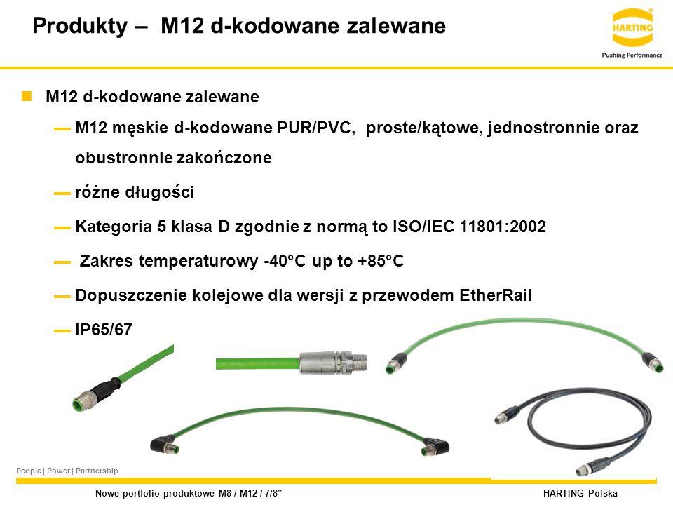 People | Power | Partnership HARTING Polska Nowe portfolio produktowe M8 / M12 / 7/8 M12 d-kodowane zalewane ▬M12 męskie d-kodowane PUR/PVC, proste/kątowe, jednostronnie oraz obustronnie zakończone ▬różne długości ▬Kategoria 5 klasa D zgodnie z normą to ISO/IEC 11801:2002 ▬ Zakres temperaturowy -40°C up to +85°C ▬Dopuszczenie kolejowe dla wersji z przewodem EtherRail ▬IP65/67 Produkty – M12 d-kodowane zalewane