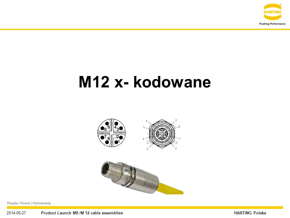"People | Power | Partnership HARTING Polska Nowe portfolio produktowe M8 / M12 / 7/8"" 2014-08-27 Product Launch M8 /M 12 cable assemblies M12 x- kodow"