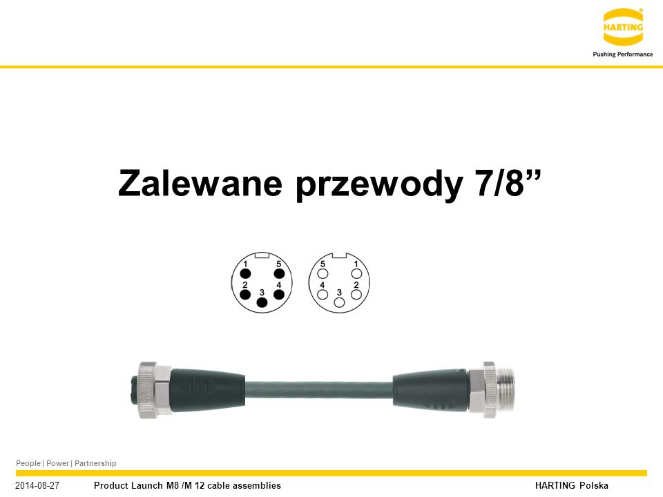 "People | Power | Partnership HARTING Polska Nowe portfolio produktowe M8 / M12 / 7/8"" 2014-08-27 Product Launch M8 /M 12 cable assemblies Zalewane prz"