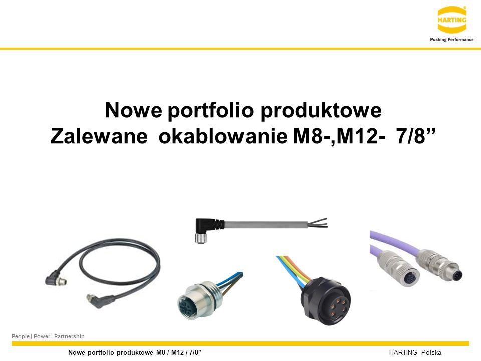 People | Power | Partnership HARTING Polska Nowe portfolio produktowe M8 / M12 / 7/8 M12 b- kodowane zalewane ▬Męskie / Żeńskie proste i kątowe, 2-polowe ▬jednostronnie oraz obustronnie zalewane ▬różne długości ▬Napięcie 125V, prąd 4A ▬IP 67 ▬Zakres temperaturowy -25°C do +85°C Produkty – M12 b- kodowane zalewane