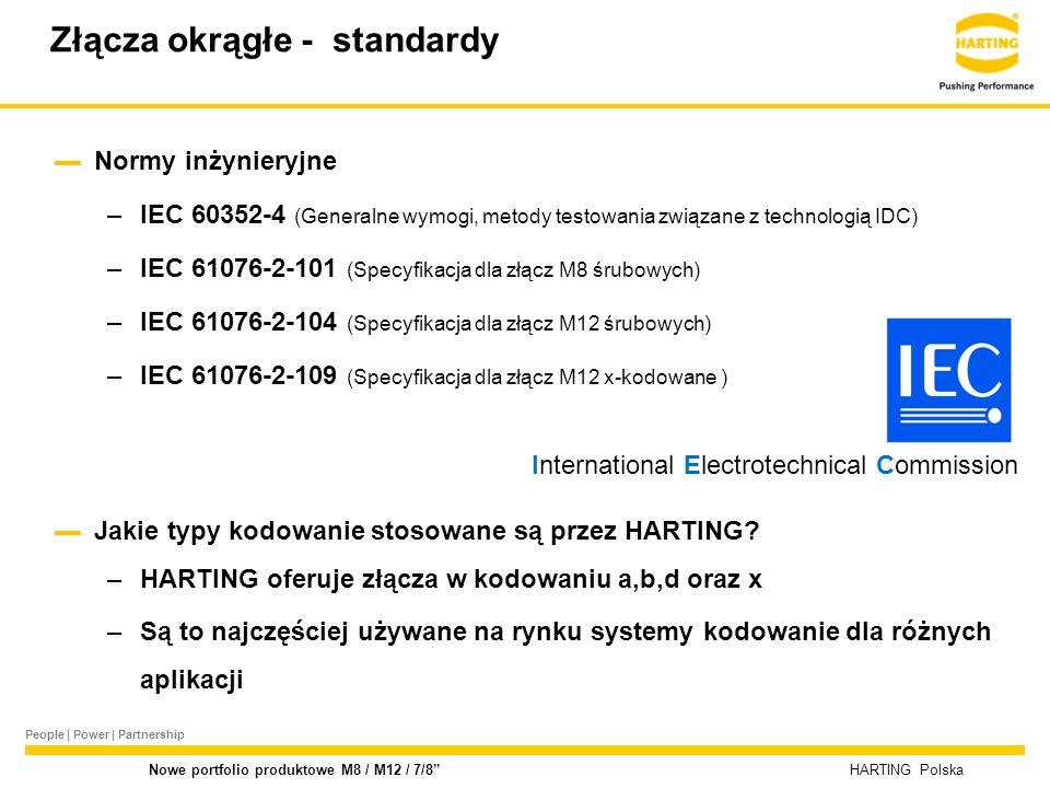 People | Power | Partnership HARTING Polska Nowe portfolio produktowe M8 / M12 / 7/8 2014-08-27 Product Launch M8 /M 12 cable assemblies Zalewane przewody M12 d-kodowane