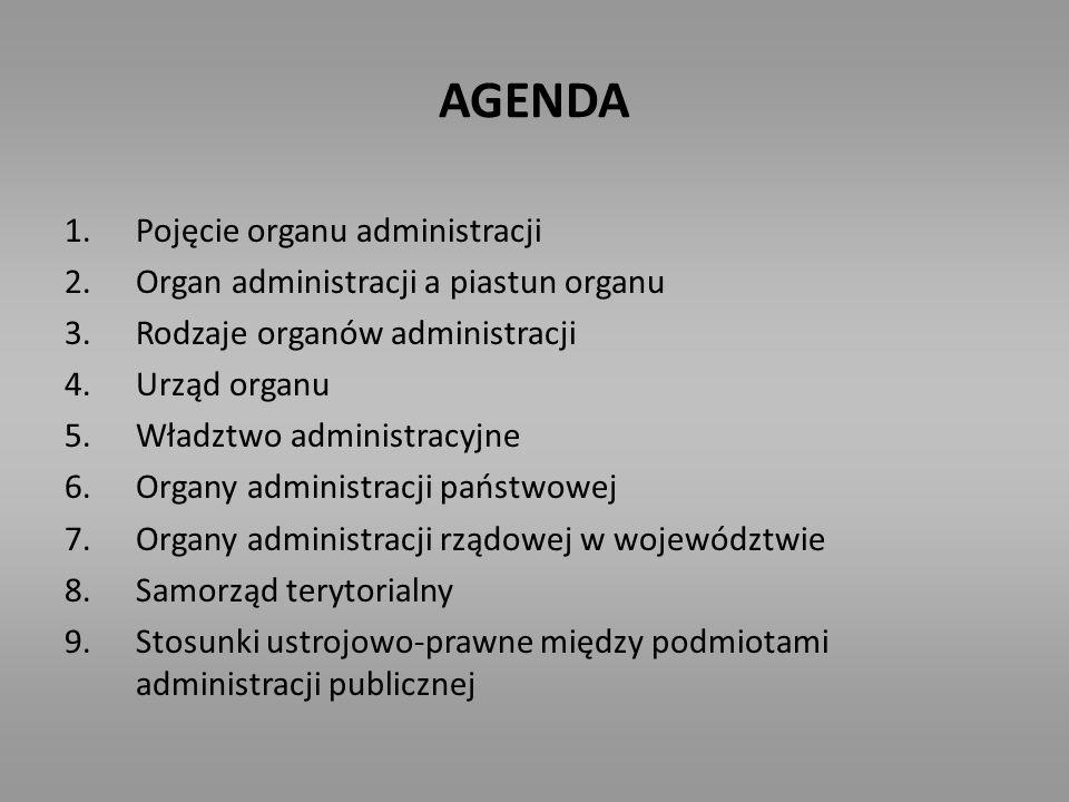 POJĘCIE ORGANU ADMINISTRACJI Organem administracji jest osoba lub grupa ludzi, w przypadku organu kolegialnego, wyodrębniona organizacyjnie i prawnie w strukturze administracji publicznej, mogąca stosować normy prawa administracyjnego w zakresie prawem przyznanych kompetencji