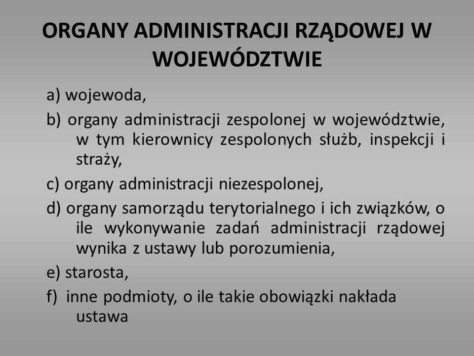 ORGANY ADMINISTRACJI RZĄDOWEJ W WOJEWÓDZTWIE a) wojewoda, b) organy administracji zespolonej w województwie, w tym kierownicy zespolonych służb, inspe
