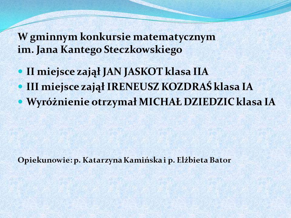 W tenisie stołowym dziewcząt na szczeblu powiatu III miejsce zajęły WIKTORIA ORZECHOWSKA i GABRIELA KASPRZYK z klasy IIC Opiekunowie: p.