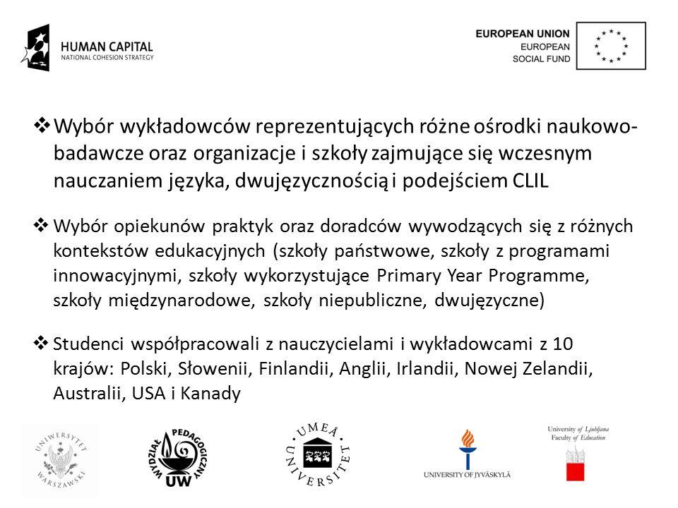  Wybór wykładowców reprezentujących różne ośrodki naukowo- badawcze oraz organizacje i szkoły zajmujące się wczesnym nauczaniem języka, dwujęzycznośc
